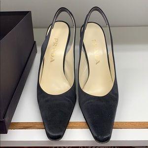Prada Raso Nero slingback satin heels sz40